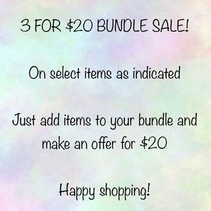 3 for $20 bundle sale!